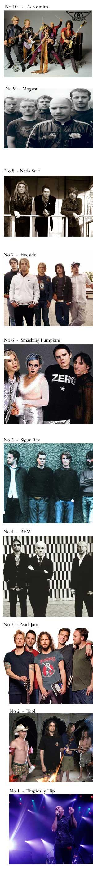 top ten rock bands